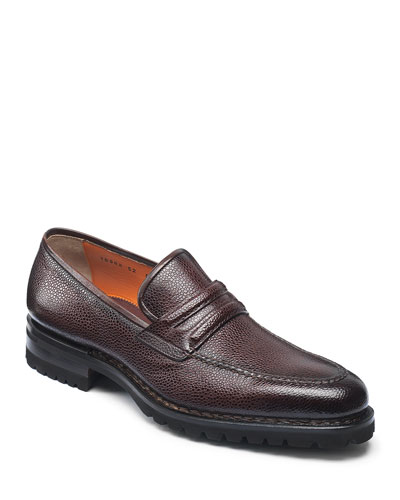 Men's Nia Pebbled Leather Penny Loafers