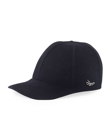 Ermenegildo Zegna Men's Solid Baseball Cap w/ Side Logo