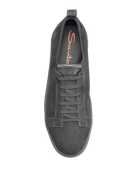 Santoni Men's Clean Iconic Suede Slip-On Stretch Sneakers