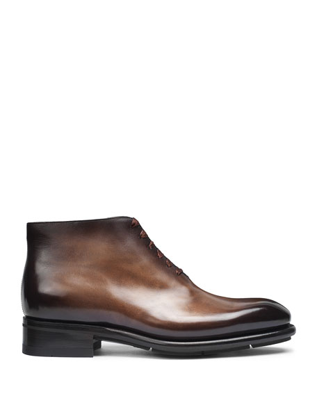 Santoni Men's Lay One-Piece Leather Ankle Boots