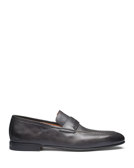Image 2 of 5: Santoni Men's Fox Leather Penny Loafers
