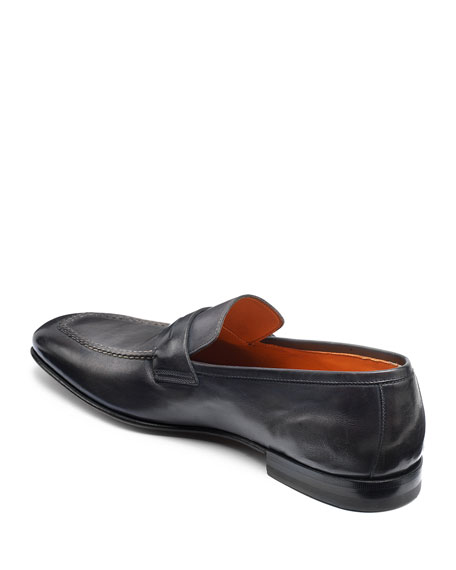 Image 3 of 5: Santoni Men's Fox Leather Penny Loafers
