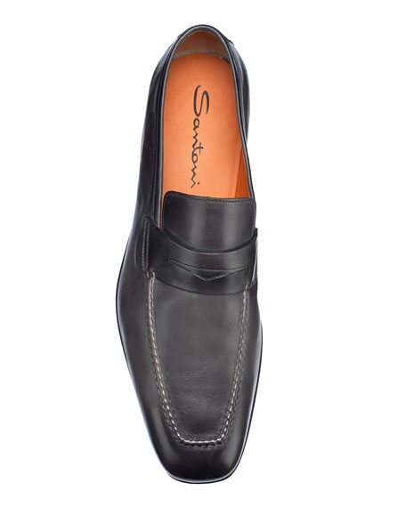 Image 4 of 5: Santoni Men's Fox Leather Penny Loafers