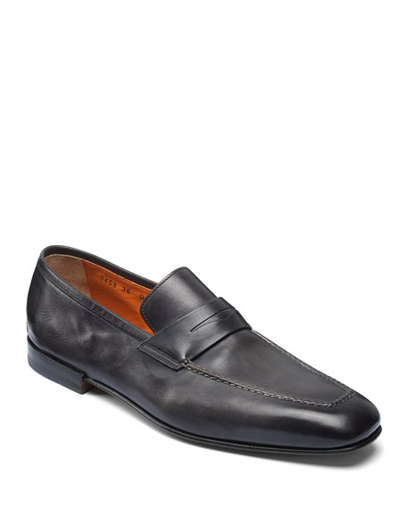 Santoni Loafers MEN'S FOX LEATHER PENNY LOAFERS