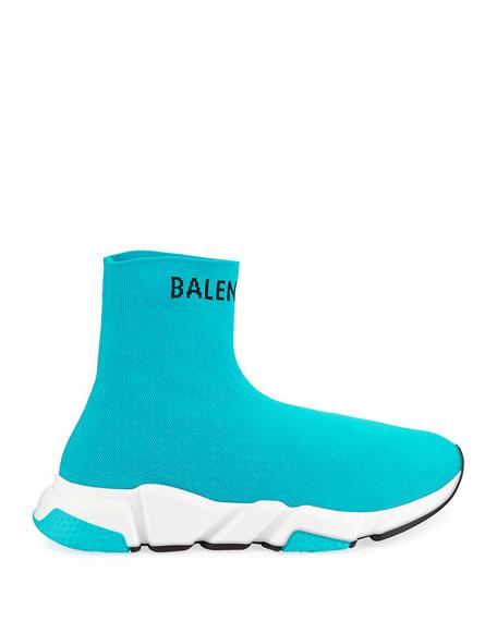 Balenciaga Men's Hi Speed Jacquard Knit Sneakers, Blue
