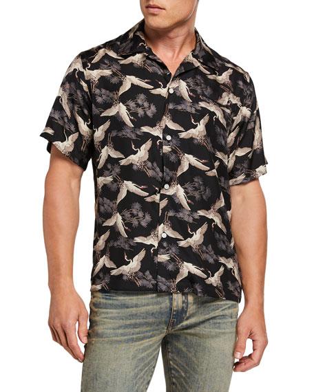 Amiri Men's Cranes Graphic Short-Sleeve Sport Shirt
