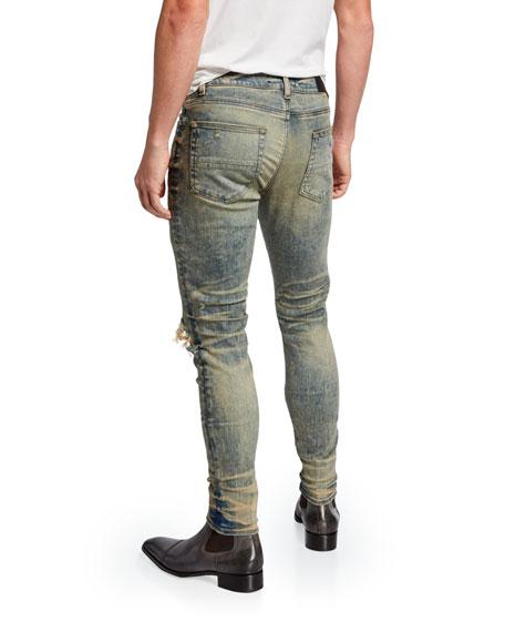 Amiri Men's Broken Ripped-Knee Skinny Jeans