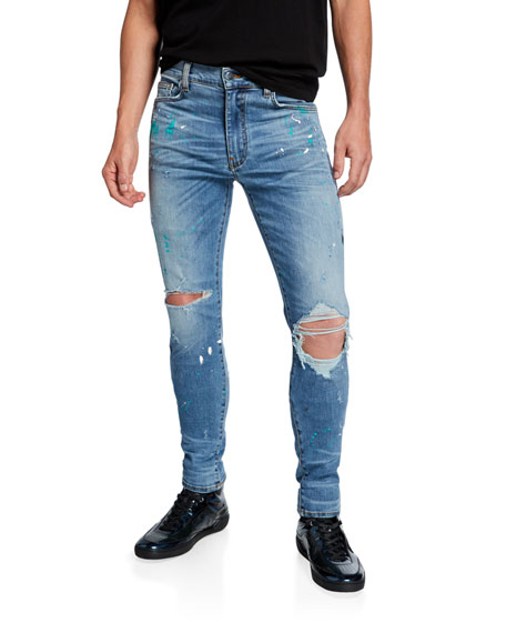 Amiri Men's Paint-Splatter Skinny Jeans with Ripped Knee
