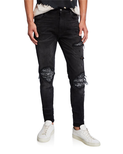 Men's Bandana Distressed Tapered Jeans