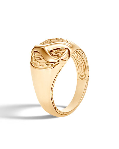 Men's Asli Classic Chain Link 18K Gold Signet Ring