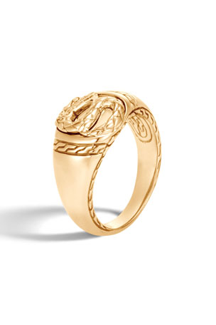 John Hardy Men's Legends Naga 18K Gold Signet Ring