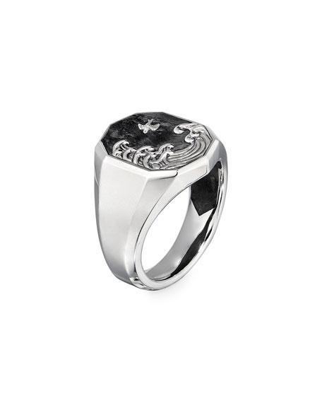 David Yurman Men's Waves Sterling Silver Signet Ring, Size 10-11