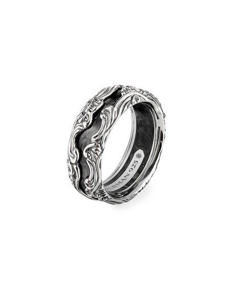 Image 2 of 3: David Yurman Men's Waves Sterling Silver Band Ring, Size 9-12