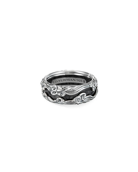 Image 1 of 3: David Yurman Men's Waves Sterling Silver Band Ring, Size 9-12