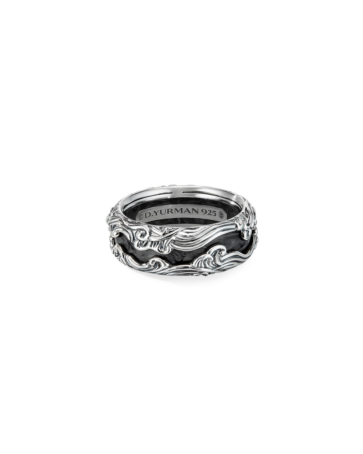 David Yurman Men's Waves Sterling Silver Band Ring, Size 9-12