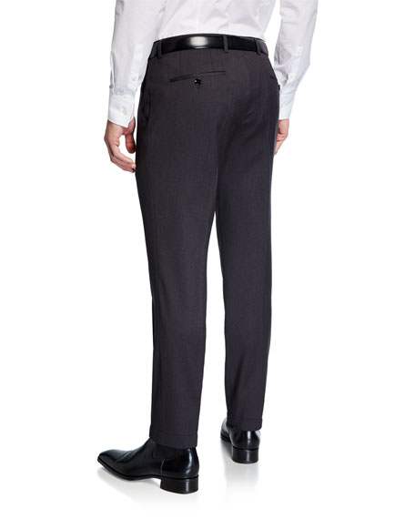 BOSS Men's Genesis Slim-Fit Wool Trousers, Medium Gray
