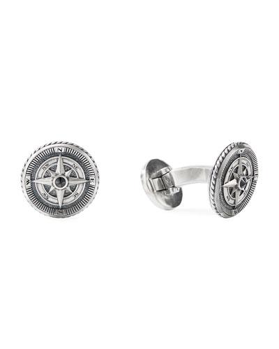 Maritime Compass Sterling Silver Cufflinks