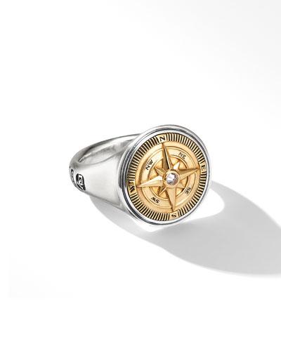 Men's Maritime Compass Signet Ring w/ Diamonds