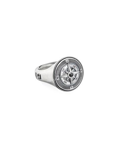 Men's Maritime Compass Signet Ring w/ Black Diamond  Size 9-13