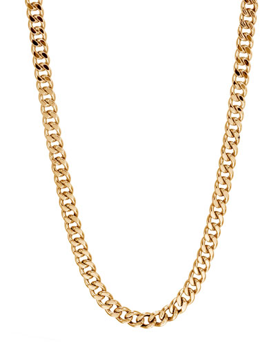 Men's Classic Chain 18K Gold 6.5mm Curb Link Necklace  26
