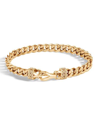 Men's Asli Classic Chain Link 18K Gold Curb Link Bracelet 8mm with Hook Clasp  Size M