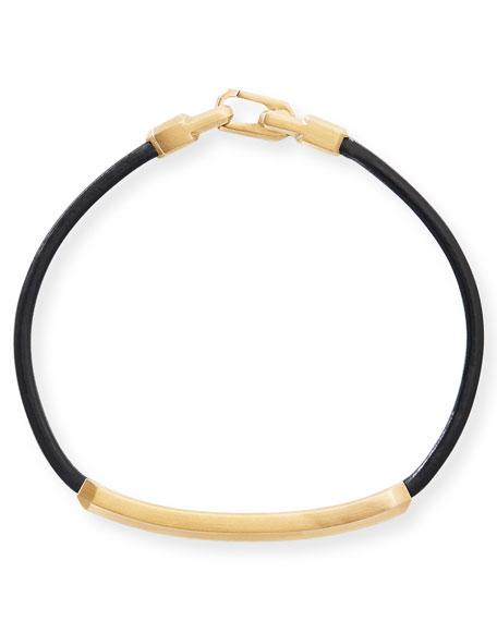 David Yurman Men's 18k Yellow Gold & Leather ID Bracelet w/ Diamond Pave