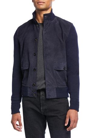 Ralph Lauren Purple Label Men's Suede-Front Button-Front Jacket