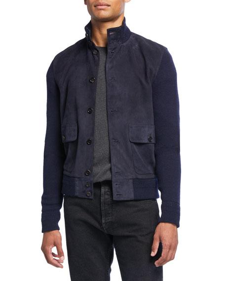 Ralph Lauren Men's Suede-Front Button-Front Jacket