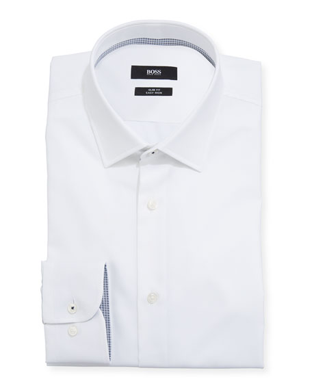 BOSS Men's Slim-Fit Solid Cotton Dress Shirt