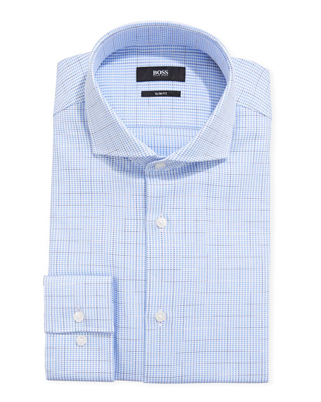 BOSS Men's Houndstooth Plaid Slim-Fit Dress Shirt
