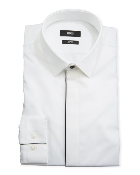 BOSS Men's Contrast-Trim Tuxedo Shirt