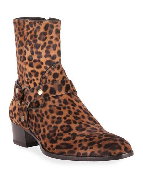 Saint Laurent Men's Wyatt Leopard-Print Harness Boots