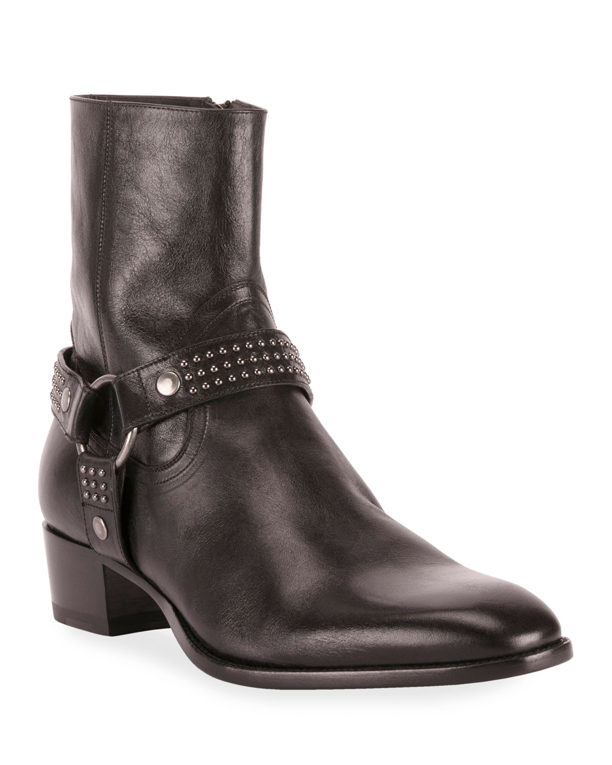 Men's Wyatt Studded Harness Boots by Saint Laurent