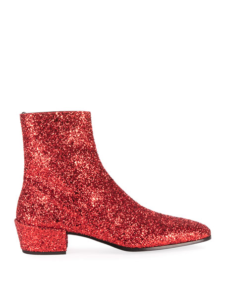 Saint Laurent Men's Caleb 40 Glitter Zip Booties