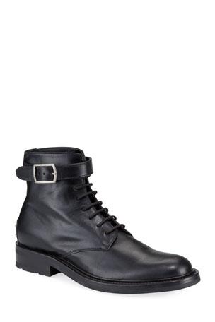 Saint Laurent Men's Leather Studded-Heel Moto Boots