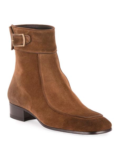 Saint Laurent Men's Miles 30mm Suede Buckle Ankle Boots
