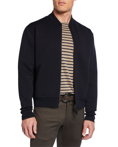 Men's Solid Knit Bomber Jacket