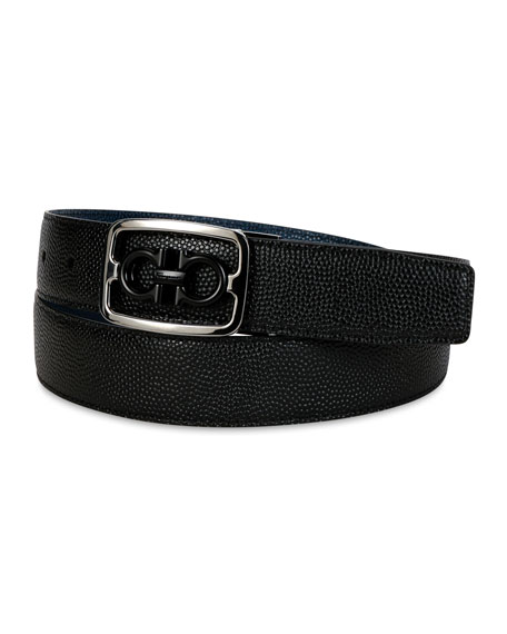 Salvatore Ferragamo Men's Reversible Gancini Buckle Leather Belt