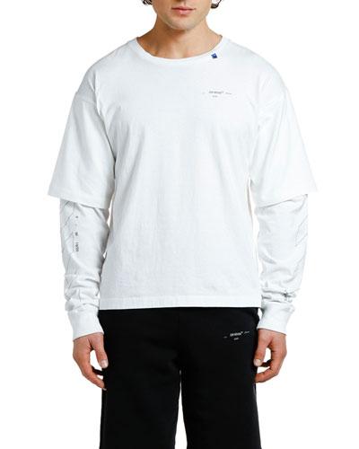 Men's Diagonal Unfinished-Sleeve T-Shirt