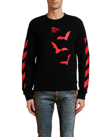 Off-White Men's Diagonal Bats Graphic Slim Long-Sleeve T-Shirt