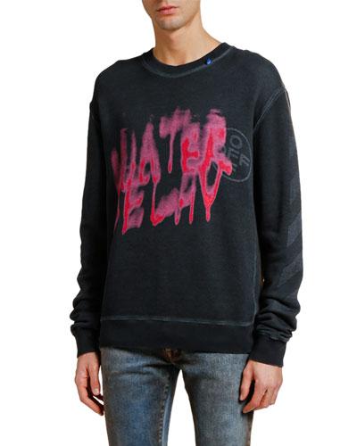 Men's Diagonal Vintage Graphic Slim Sweatshirt
