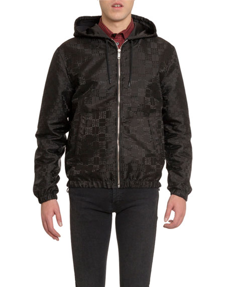 Givenchy Men's Reversible 4G Jacquard Zip-Front Hooded Jacket