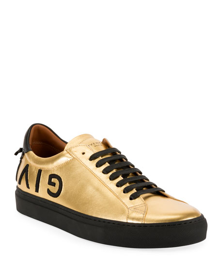 Givenchy Men's Metallic Leather Low-Top Sneakers