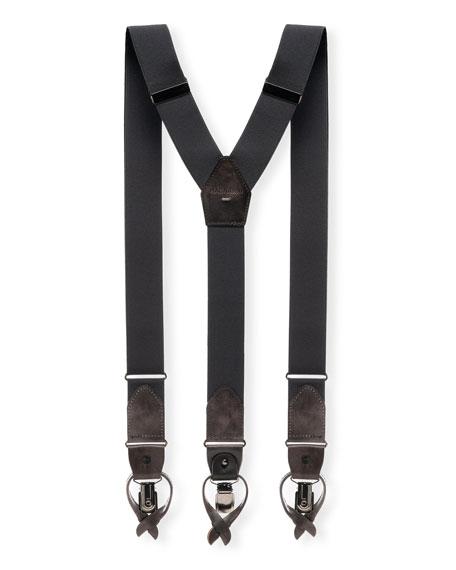 Magnanni Accessories MEN'S LINDOR LEATHER-TRIM STRETCH BRACES, GRAY