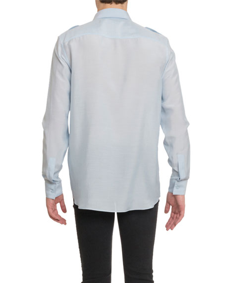Givenchy Men's Silk-Blend Military Sport Shirt