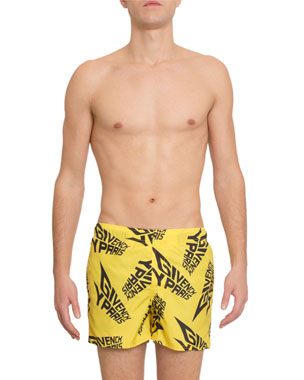 63dcae6964 Givenchy Men's Logo-Print Swim Trunks