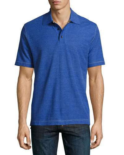 Messenger Heather Polo Shirt  Blue/Black