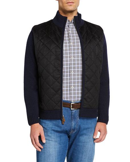 Neiman Marcus Men's Wool/Cashmere Diamond Quilted Full Zip Sweater