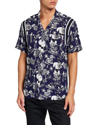 Men's Popeye's 90th Anniversary Brutus-Print Hawaiian Shirt