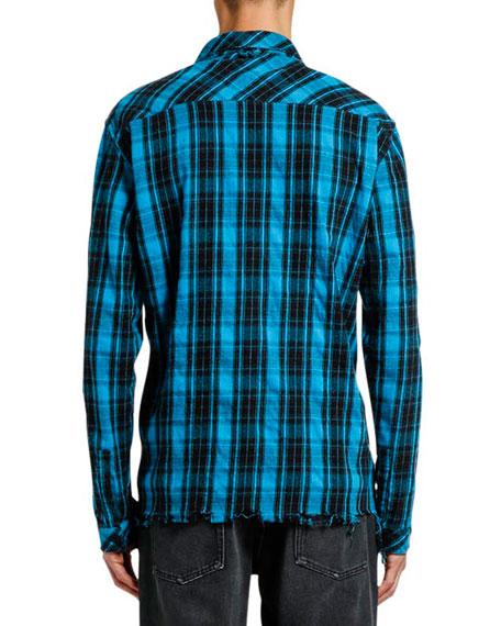 Marcelo Burlon Men's County Check Unfinished-Hem Sport Shirt